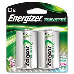 Energizer EVENH50BP2 NiMH Rechargeable Batteries, D, 2 Batteries/Pack NH50BP-2