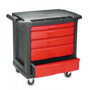 Rubbermaid Commercial RCP773488 Five-Drawer Mobile Workcenter, 32 1/2w x 20d x 33 1/2h, Black Plastic Top