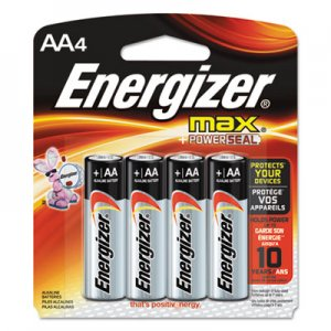 Energizer EVEE91BP4 MAX Alkaline Batteries, AA, 4 Batteries/Pack E91BP-4