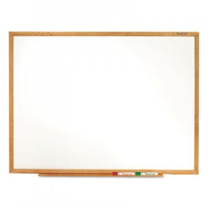 Quartet S577 Classic Melamine Whiteboard, 72 x 48, Oak Finish Frame QRTS577