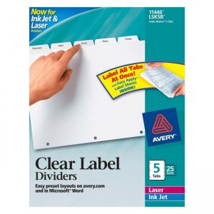 avery dennison labels templates - avery dennison lsk5b index maker clear label divider ave11446