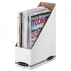 Bankers Box FEL10723 Corrugated Cardboard Magazine File, 4 x 9 1/4 x 11 3/4, White, 12/Carton