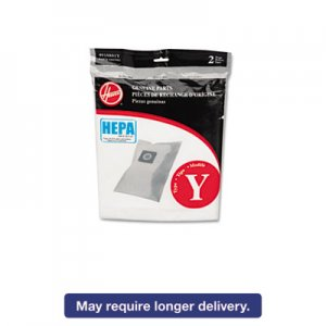 Hoover Commercial AH10040 HEPA Y Filtration Bags for Hoover Upright Cleaners, 2/Pack HVRAH10040