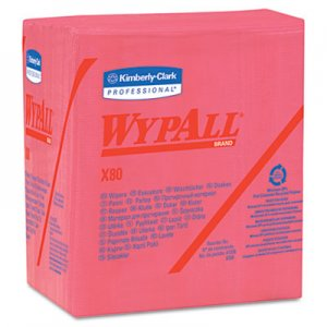WypAll 41029 WYPALL X80 Wipers, 1/4-Fold, HYDROKNIT, 12 1/2 x 13, Red, 50/Box, 4/Carton KCC41029