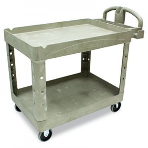 Rubbermaid Commercial RCP452088BG Heavy-Duty Utility Cart, Two-Shelf, 25 9/10w x 45 1/5d x 32 1/5h