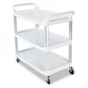 Rubbermaid Commercial RCP409100CM Open Sided Utility Cart, Three-Shelf, 40-5/8w x 20d x 37-13/16h, Off-White