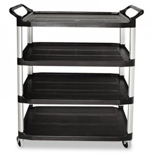 Rubbermaid Commercial RCP409600BLA Open Sided Utility Cart, Four-Shelf, 40-5/8w x 20d x 51h, Black