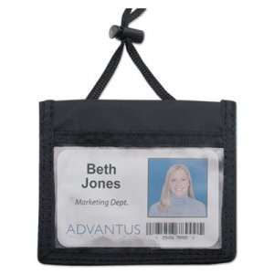 Advantus 75452 ID Badge Holder w/Convention Neck Pouch, Horizontal, 4 x 2 1/4, Black, 12/Pack AVT75452