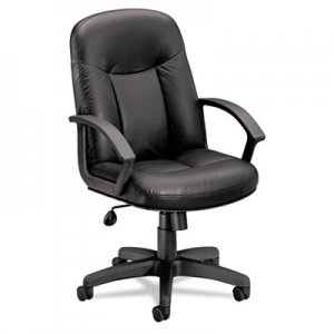 basyx BSXVL601ST11 VL601 Leather Mid-Back Swivel/Tilt Chair, Metal, 26w x 33-1/2d x 43h, Black