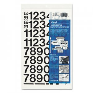 "Chartpak 01130 Press-On Vinyl Numbers, Self Adhesive, Black, 1""h, 44/Pack CHA01130"