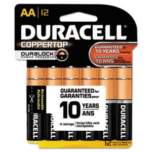 Duracell MN15RT12Z CopperTop Alkaline Batteries with Duralock Power Preserve Technology, AA, 12/Pk DURMN15RT12Z