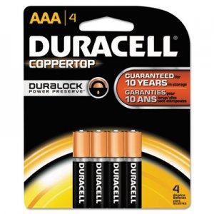Duracell MN2400B4Z CopperTop Alkaline Batteries with Duralock Power Preserve Technology, AAA, 4/Pk DURMN2400B4Z