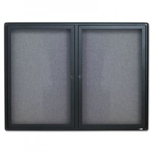 Quartet 2364L Enclosed Fabric-Cork Board, 48 x 36, Gray Surface, Graphite Aluminum Frame QRT2364L