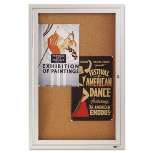 Quartet 2363 Enclosed Bulletin Board, Natural Cork/Fiberboard, 24 x 36, Silver Aluminum Frame QRT2363