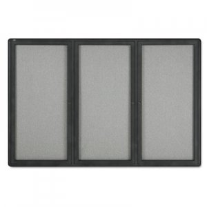 Quartet 2367L Enclosed Fabric-Cork Board, 72 x 48, Gray Surface, Graphite Aluminum Frame QRT2367L