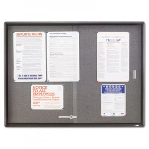 Quartet 2364S Enclosed Bulletin Board, Fabric/Cork/Glass, 48 x 36, Gray, Aluminum Frame QRT2364S