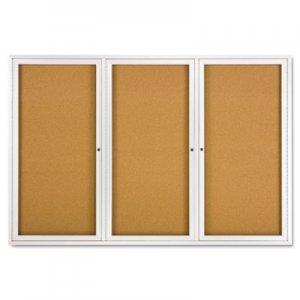 Quartet 2367 Enclosed Bulletin Board, Natural Cork/Fiberboard, 72 x 48, Silver Aluminum Frame QRT2367