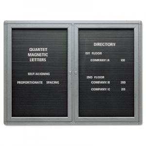 Quartet 2964LM Enclosed Magnetic Directory, 48 x 36, Black Surface, Graphite Aluminum Frame QRT2964LM
