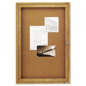 Quartet 363 Enclosed Bulletin Board, Natural Cork/Fiberboard, 24 x 36, Oak Frame QRT363