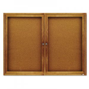 Quartet 364 Enclosed Bulletin Board, Natural Cork/Fiberboard, 48 x 36, Oak Frame QRT364