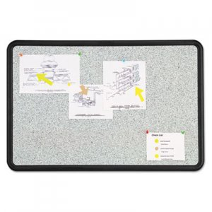Quartet 699370 Contour Granite Gray Tack Board, 36 x 24, Black Frame QRT699370