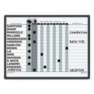 Quartet 781G Magnetic Employee In/Out Board, Porcelain, 24 x 18, Gray/Black, Aluminum Frame QRT781G