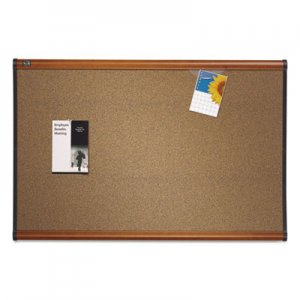 Quartet B243LC Prestige Bulletin Board, Brown Graphite-Blend Surface, 36 x 24, Cherry Frame QRTB243LC