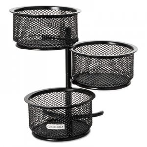 Rolodex ROL62533 3 Tier Wire Mesh Swivel Tower Paper Clip Holder, 3 3/4 x 6 1/2 x 6