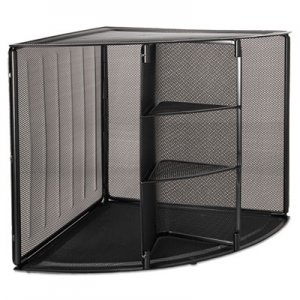 Rolodex ROL62630 Mesh Corner Desktop Shelf, Five Sections, 20 x 14 x 13, Black
