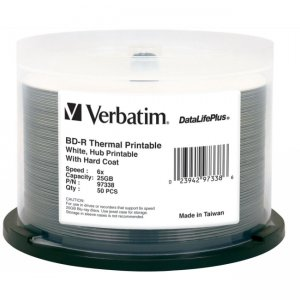 Verbatim 97338 BD-R 6x White Thermal Hub Printable Disc