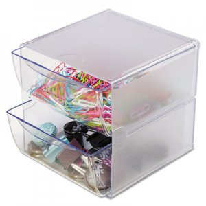 deflecto 350101 Two Drawer Cube Organizer, Clear Plastic, 6 x 7-1/8 x 6 DEF350101
