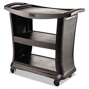 Rubbermaid Commercial RCP9T6800BK Executive Service Cart, Three-Shelf, 20-1/3w x 38-9/10d, Black