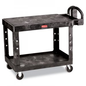 Rubbermaid Commercial 452500BK Flat Shelf Utility Cart, Two-Shelf, 25-1/4w x 44d x 38-1/8h, Black RCP452500BK