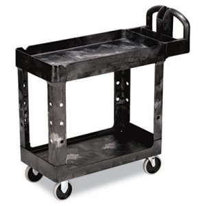 Rubbermaid Commercial 450088BK Heavy-Duty Utility Cart, Two-Shelf, 17-1/8w x 38-1/2d x 38-7/8h