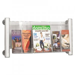 Safco 4133SL Luxe Magazine Rack, Three Compartments, 31-3/4w x 5d x 15-1/4h, Clear/Silver SAF4133SL