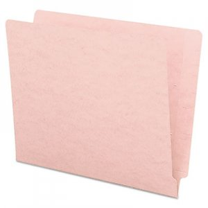 Smead SMD25610 Reinforced End Tab Colored Folders, Straight Tab, Letter Size, Pink, 100/Box