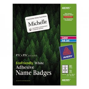 Avery AVE48395 EcoFriendly Adhesive Name Badge Labels, 2 1/3 x 3 3/8, White, 80/Pack