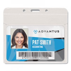 "Advantus AVT75603 PVC-Free Badge Holders, Horizontal, 4"" x 3"", Clear, 50/Pack"