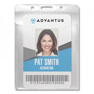 "Advantus AVT75604 PVC-Free Badge Holders, Vertical, 3"" x 4"", Clear, 50/Pack"
