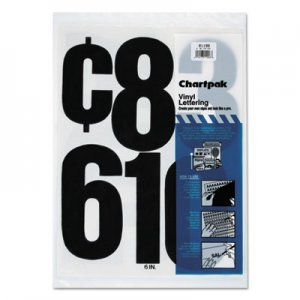"Chartpak 01198 Press-On Vinyl Numbers, Self Adhesive, Black, 6""h, 21/Pack CHA01198"