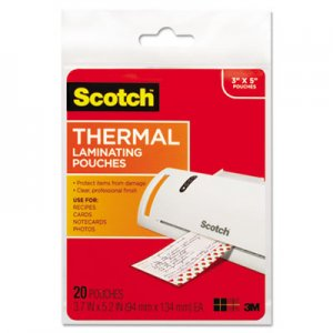 Scotch MMMTP590220 Index Card Size Thermal Laminating Pouches, 5 mil, 5 3/8 x 3 3/4, 20/Pack TP5902