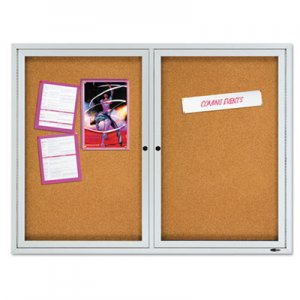 "Quartet 2124 Enclosed Cork Bulletin Board, Cork/Fiberboard, 48"" x 36"", Silver Aluminum Frame QRT2124"