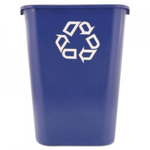 Rubbermaid Commercial RCP295773BE Large Deskside Recycle Container w/Symbol, Rectangular, Plastic, 41.25qt, Blue