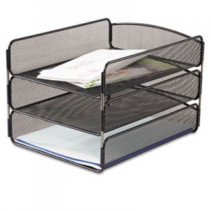 Safco SAF3271BL Desk Tray, Three Tiers, Steel Mesh, Letter, Black