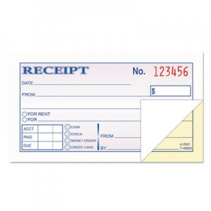 TOPS TOP46820 Money and Rent Receipt Books, 2-3/4 x 4 7/8, 2-Part Carbonless, 50 Sets/Book