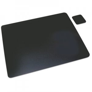 Artistic 1924LE Leather Desk Pad w/Coaster, 19 x 24, Black AOP1924LE
