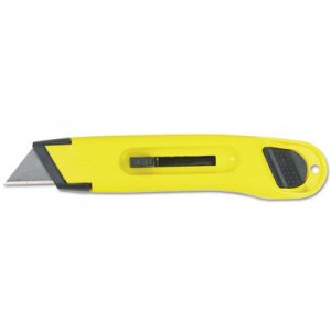 Stanley BOS10065 Plastic Light-Duty Utility Knife w/Retractable Blade, Yellow 10-065