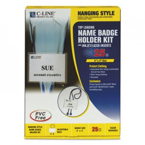 C-Line CLI96053 Name Badge Kits, Top Load, 4 x 3, White, Blue Bolo Cord, 25/Box