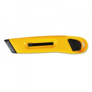 COSCO 091467 Plastic Utility Knife w/Retractable Blade & Snap Closure, Yellow COS091467
