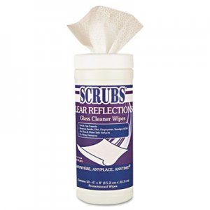 SCRUBS 98556CT CLEAR REFLECTIONS Glass/Surface Wipes, Cloth, 6 x 8, 50/Canister, 6/Carton ITW98556CT